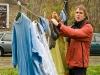 Aber auch der Wohnalltag holte die Demonstranten ein, beim Wäschetrocknen