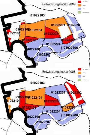 Entwicklungsindex für 2009 (oben) und 2008 (unten) in Moabit