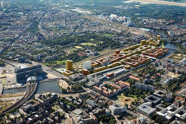 Baumassenmodell des Heidestraßenquartiers (Quelle: Vivico)