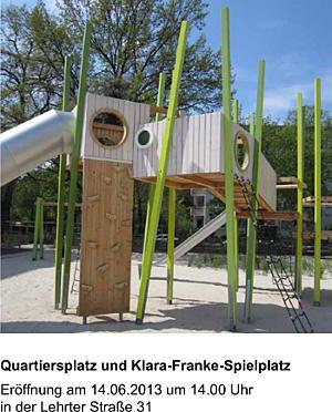 Flyer zur Eröffnung des neu gestalteten Klara-Franke-Spielplatzes und Quartiersplatzes downloaden