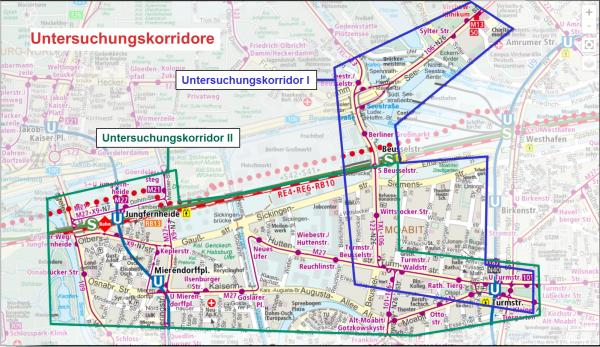 Grafik: Die Untersuchungskorridore, Quelle: SenUVK