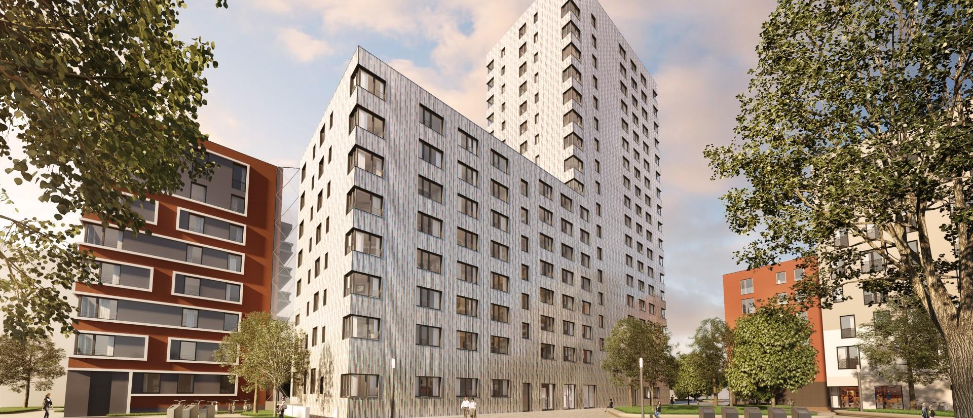 Grafik: Unverbindliche Visualisierung des Hochhauses in der Lehrter Straße © Zabel Property