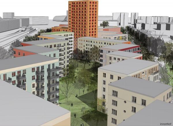 Das 18-stöckige Hochhaus mit ca. 300 Studentenapartements wird das Stadtbild neu prägen, Grafik: Sauerbruch Hutton