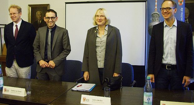 Gruppenfoto von Ephraim Gothe, Stephan von Dassel, Sabine Weißler und Carsten Spallek
